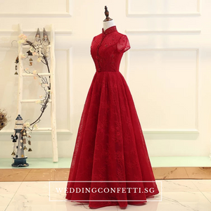 The Jassinta Red Cheongsam Mandarin Collar Short Sleeves Dress - WeddingConfetti