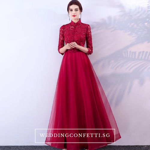 The Petrina Red Lace Long Sleeves Gown - WeddingConfetti