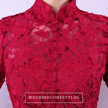 Load image into Gallery viewer, The Petrina Red Lace Long Sleeves Gown - WeddingConfetti