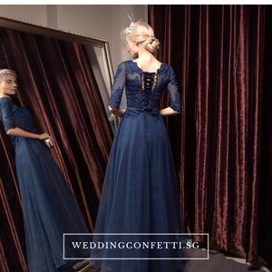 The Arelle Long Sleeves Black/White/Pink/Red/Blue Gown (Available in 4 colours) - WeddingConfetti