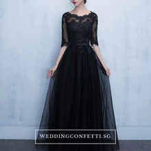 Load image into Gallery viewer, The Arelle Long Sleeves Black/White/Pink/Red/Blue Gown (Available in 4 colours) - WeddingConfetti