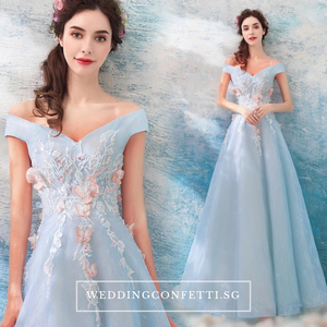The Kaisley Sky Blue Off Shoulder Floral Gown - WeddingConfetti