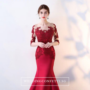 The Rorenza Red / Wine Red / Royal Blue Long Illusion Sleeves Gown - WeddingConfetti