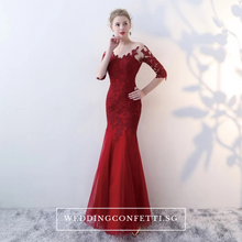 Load image into Gallery viewer, The Rorenza Red / Wine Red / Royal Blue Long Illusion Sleeves Gown - WeddingConfetti