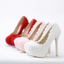Load image into Gallery viewer, Wedding Bridal Red / Pink / White Heels - WeddingConfetti