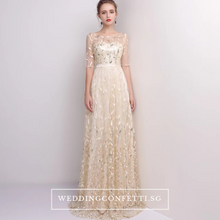 Load image into Gallery viewer, The Vachel Pink / Champagne / Navy Blue Sequined Lace Gown - WeddingConfetti
