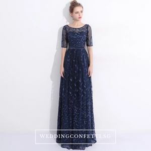 The Vachel Pink / Champagne / Navy Blue Sequined Lace Gown - WeddingConfetti