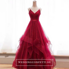 Load image into Gallery viewer, The Vivianna Red / Gold Tulle Gown