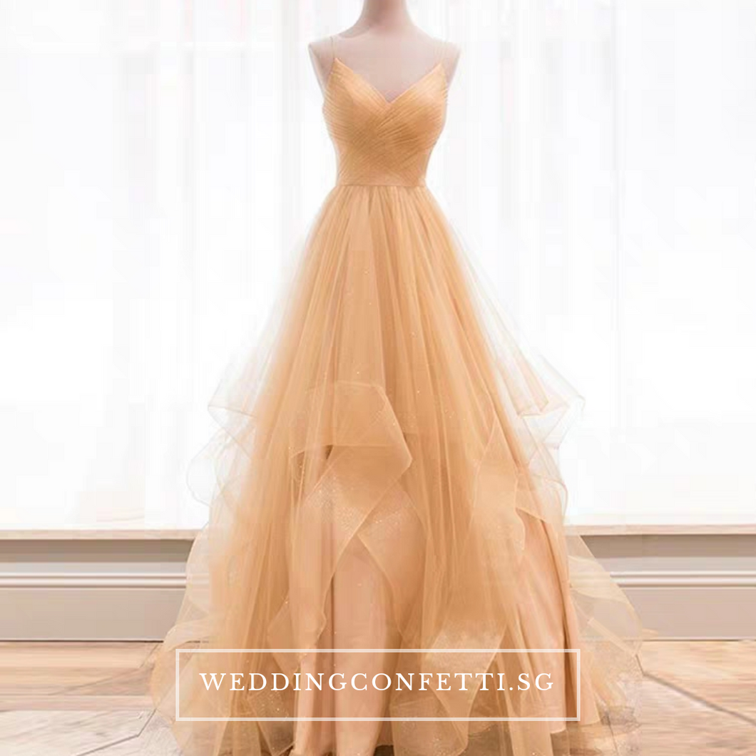 The Vivianna Red / Gold Tulle Sleeveless Gown - WeddingConfetti