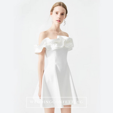 Load image into Gallery viewer, The Wendy White Ruffled Off Shoulder Dress - WeddingConfetti