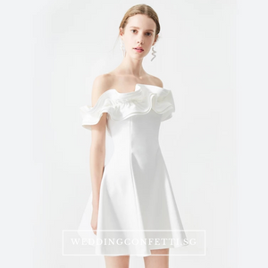The Wendy White Ruffled Off Shoulder Dress - WeddingConfetti