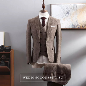 Brendon Groom Men's Brown / Grey / Black Suit Jacket, Vest and Pants (3 Piece) - WeddingConfetti