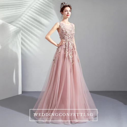 The Lovelia Pink Sleeveless Gown - WeddingConfetti