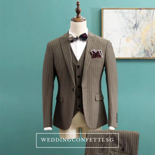 Caden Groom Men's Striped Brown / Grey / Black Suit Jacket, Vest and Pants (3 Piece) - WeddingConfetti
