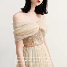 Load image into Gallery viewer, The Raylynn Champagne Tulle Off Shoulder Gown - WeddingConfetti