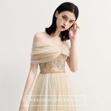 Load image into Gallery viewer, The Raylynn Champagne Tulle Off Shoulder Gown