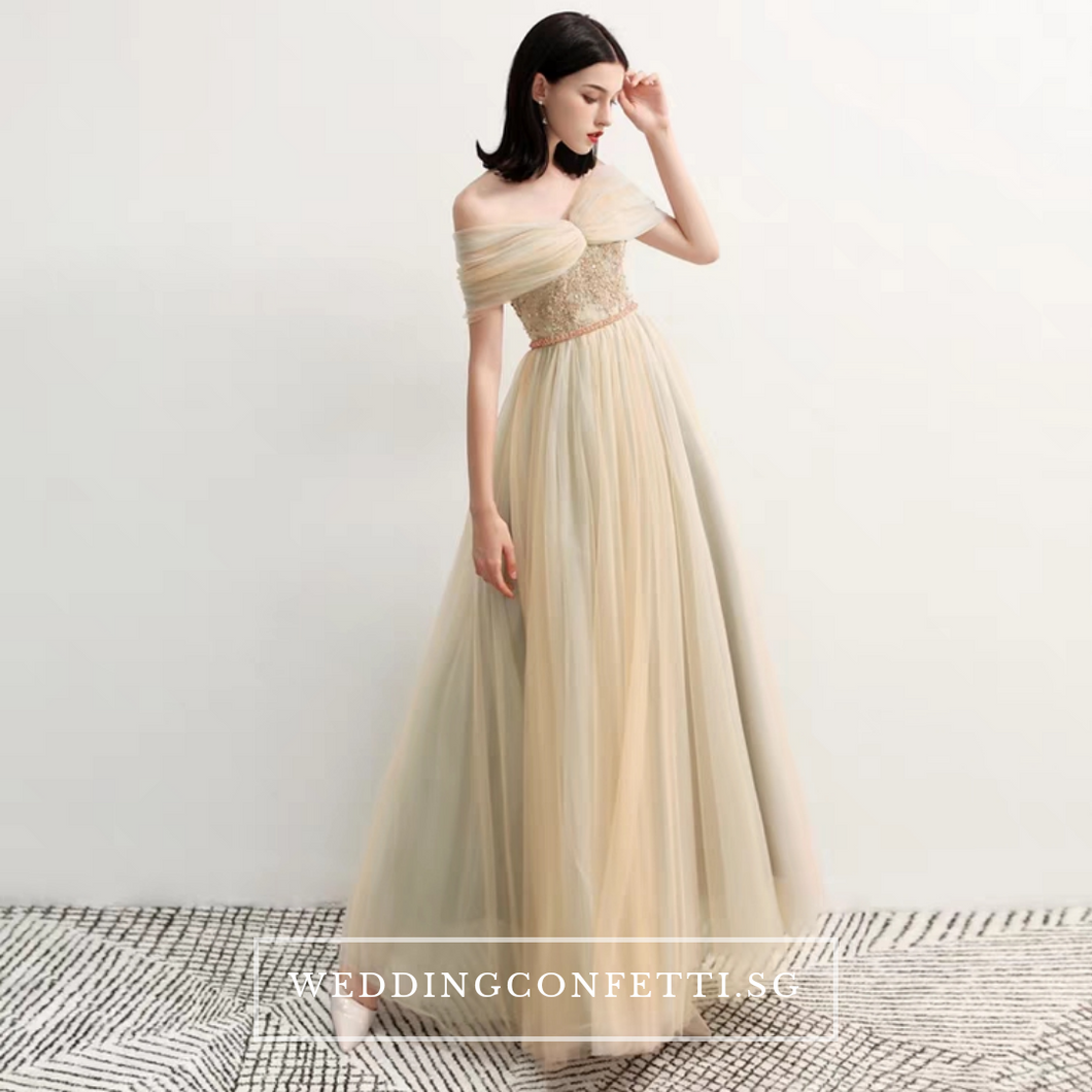 The Raylynn Champagne Tulle Off Shoulder Gown - WeddingConfetti