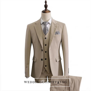 Klause Groom Men's Beige / Grey / Black Suit Jacket, Vest and Pants (3 Piece) - WeddingConfetti