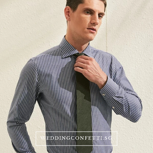 Earle Blue Striped Long Sleeve Shirt - WeddingConfetti