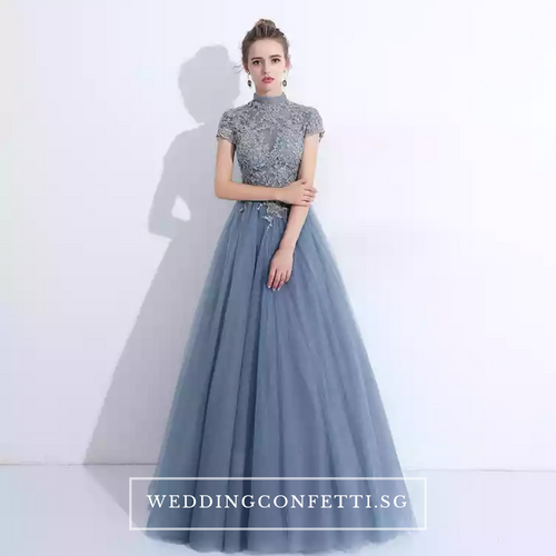 The Ariana Champagne / Blue / Red Tulle Lace Gown