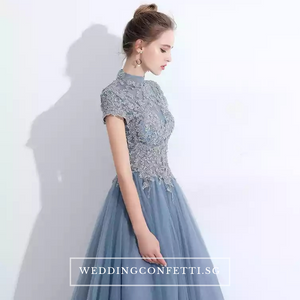 The Ariana Champagne / Blue / Red Tulle Lace Gown (Available in 3 Colours) - WeddingConfetti