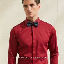 Load image into Gallery viewer, Royston Red Long Sleeve Shirt - WeddingConfetti