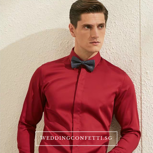 Royston Red Long Sleeve Shirt - WeddingConfetti