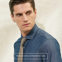 Load image into Gallery viewer, Jayden Blue Long Sleeve Shirt - WeddingConfetti