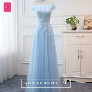 The Charmelle Sky Blue Lace Sleeves Evening Dress - WeddingConfetti