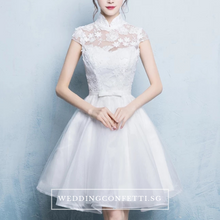 Load image into Gallery viewer, The Laurentia White Mandarin Collar Short Tulle Dress - WeddingConfetti