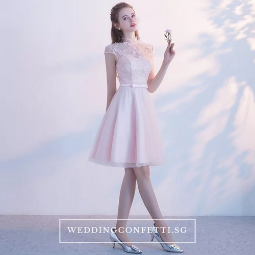 The Laurentia Pink Mandarin Collar CheongSam Short Tulle Dress - WeddingConfetti