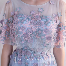 Load image into Gallery viewer, The Pauletta Blue Floral Flare Sleeves Dress
