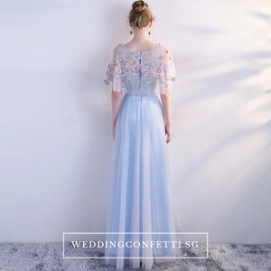 The Pauletta Blue Floral Flare Sleeves Dress - WeddingConfetti