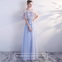 Load image into Gallery viewer, The Pauletta Blue Floral Flare Sleeves Dress - WeddingConfetti