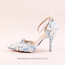 Load image into Gallery viewer, Wedding Bridal Blue Floral Heels - WeddingConfetti