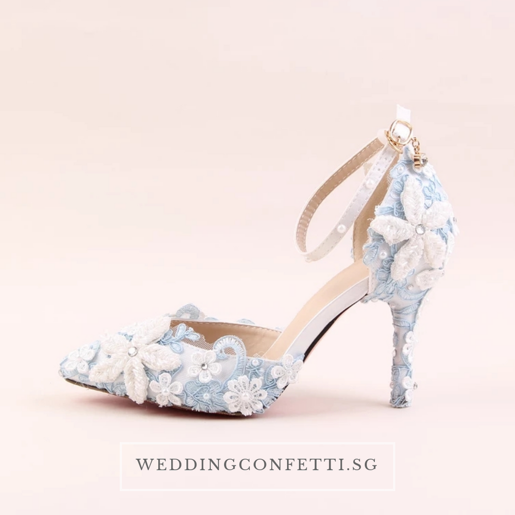 Wedding Bridal Blue Floral Heels - WeddingConfetti