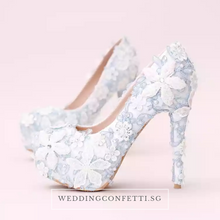 Load image into Gallery viewer, Wedding Bridal Floral Blue Heels