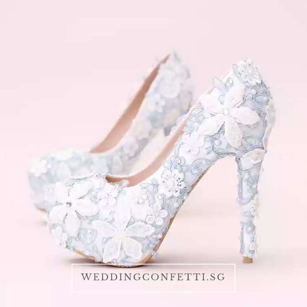 Wedding Bridal Floral Blue Heels