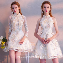 Load image into Gallery viewer, The Clara Cheongsam Mandarin Collar Short Dress - WeddingConfetti