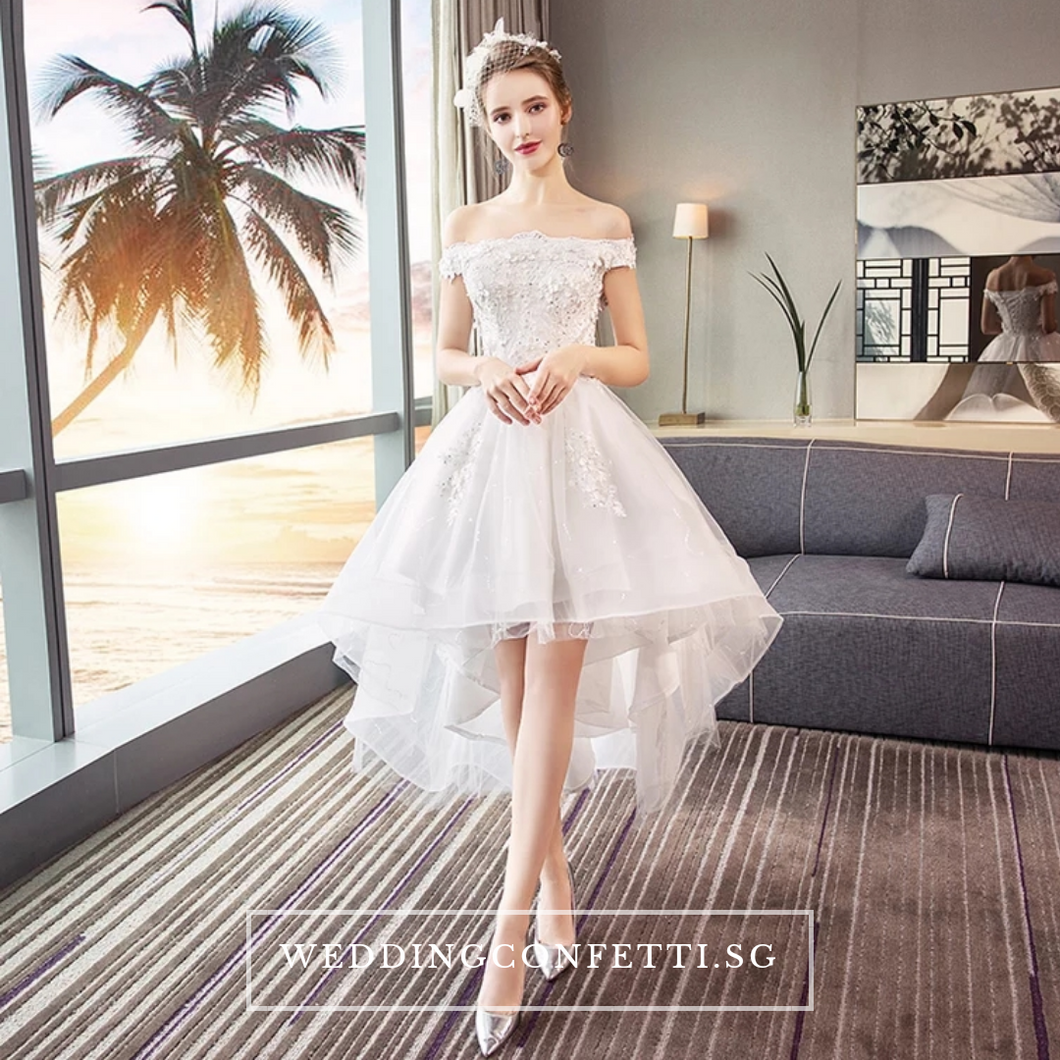 The Ryndel Off Shoulder High Low Gown (Available in short and long sleeves) - WeddingConfetti
