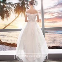 Load image into Gallery viewer, The Ryndel Off Shoulder High Low Gown (Available in short and long sleeves) - WeddingConfetti