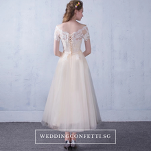 Load image into Gallery viewer, The Lynne Champagne Off Shoulder Gown - WeddingConfetti