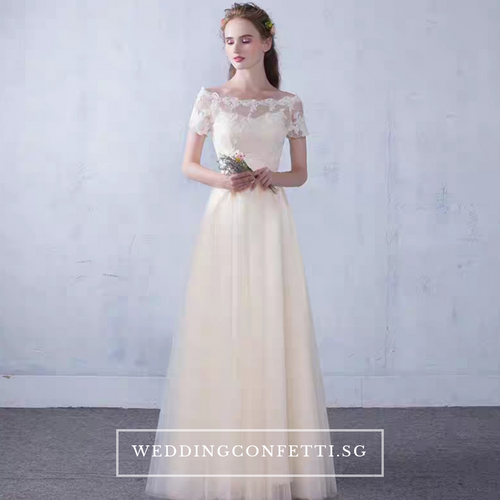 The Lynne Champagne Off Shoulder Gown - WeddingConfetti