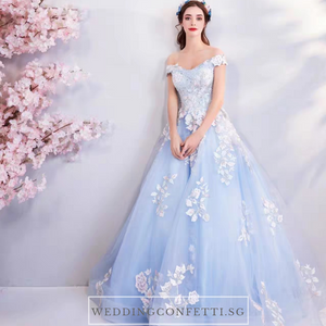 The Lelarine Off Shoulder Sky Blue Gown - WeddingConfetti