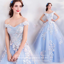 Load image into Gallery viewer, The Lelarine Off Shoulder Sky Blue Gown