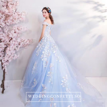 Load image into Gallery viewer, The Lelarine Off Shoulder Sky Blue Gown - WeddingConfetti