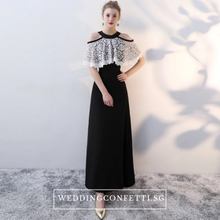 Load image into Gallery viewer, The Lorde Lace Off Shoulder / Halter Black Dress - WeddingConfetti