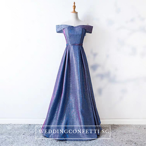 The Cailey Iridescent Off Shoulder Gown - WeddingConfetti