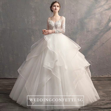 Load image into Gallery viewer, The Maynard Wedding Bridal Long Illusion Sleeves Gown - WeddingConfetti