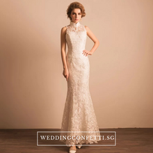 Load image into Gallery viewer, The Trisher Wedding Mermaid Mandarin Collar Gown - WeddingConfetti